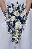 Schottisches Distel-Design Rosen, elfenbeinfarben, Calla Lily and Daisy Cascade Bridal Bouquet