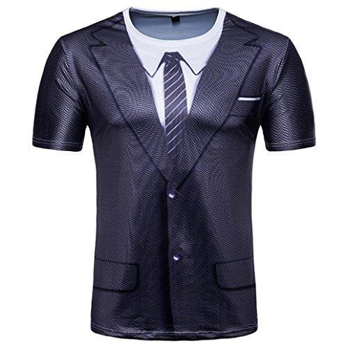 Finte due maniche corte stampate t-shirt uomo,styledresser maglietta uomo,abbigliamento uomo,t-shirt da uomo sportiva, maglietta senza da uomo,sportiva da uomo, uomo t-shirt in cotone basic,felpa (xl)