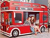 Bilira_Kids Etagenbett Autobett Kinderbett 90x200 Rot Hochbett Jugendbett Bett Stockbett Spielbett Abenteuerbett Funbett Busbett