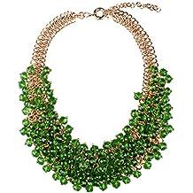 857e28018060 Hamer Mujer Lujo Verde Hierba Declaración collares chapado en oro de cristal  Fiesta para Niñas