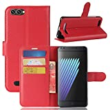 Casefirst Doogee X30 Case Luxury PU Leather Wallet Flip Protective Skin Case Cover with Card Slots and Stand for Doogee X30 Red