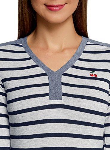 oodji Ultra Femme T-Shirt Henley Rayé Gris (2079S)