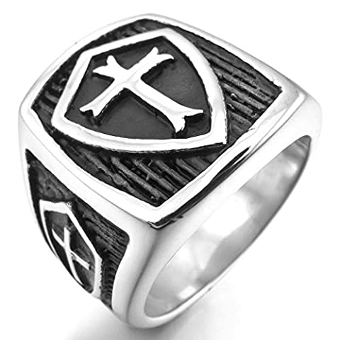 Epinki,Fashion Jewelry Men's Stainless Steel Rings Silver Black Celtic Medieval Cross Shield Size P 1/2