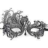 Gearmax® Máscara veneciana mujer ata Fiesta de Carnaval de la mascarada atractiva cara de la bola del ojo(Blanco Rhinestone)