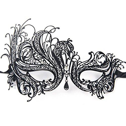 Gearmax® Sexy Glänzende Laser-Cut Metall Schwarz venezianischen Maskerade-Maske für Frauen mit Kristallen Halbaugenmaske (Schwarz mit Weißstraß)