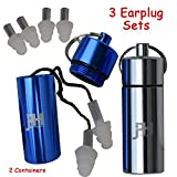 Ear Plugs - Best Noise Cancelling Silicone Protection Earplugs - Includes 3 Sets And 2 Containers - For Concerts, Shooting, Musicians, Sleeping - Construction Safety, Industrial Tinnitus Reduction And Flight Protectors