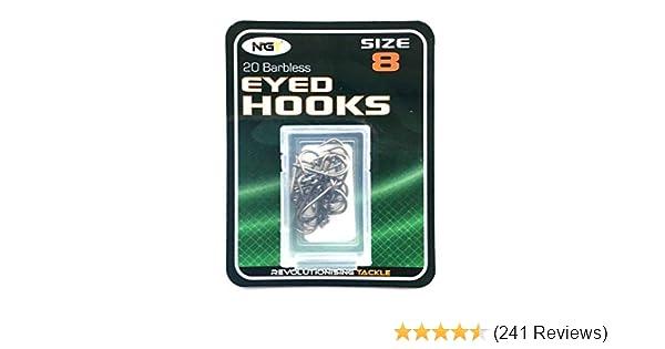 NGT Barbless eyed Hooks Size 8 10 12 14 16 18 Coarse Match Fishing