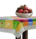 #8: Kuber Industries Multi Checkered Waterproof Dining Table Cover 6 Seater (60*90 inches)