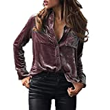 Damen Pullover Frauen Solid Velvet Turn-Dowm Kragen Langarm T-Shirt Einfarbig Tops Bluse Knopf Oben V-Ausschnitt Pullover S-XL