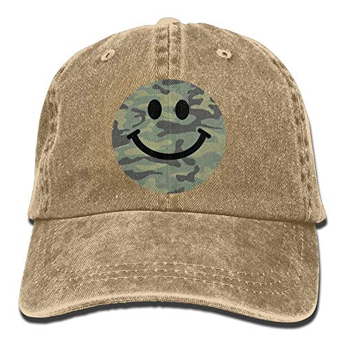 AOHOT Herren Damen Baseball Caps,Hüte, Mützen, Classic Baseball Cap, Camo Smiley Face Denim Hat Adjustable Women Low Baseball Hats