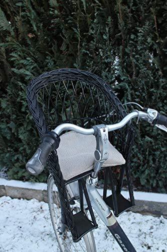 Marcus Weidenhandel Kinderfahrradsitz Fahrradsitz aus Weide in Schwarz für den Fahrradlenker mit/ohne Kissen (mit Kissen)