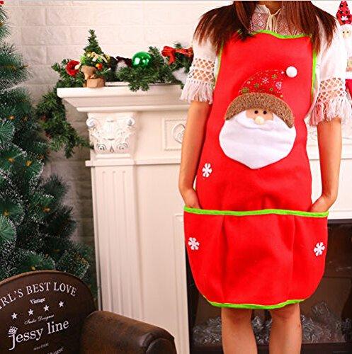 Lqchl Festa Di Natale Adulto Grembiule Santa Xmas Cucina Domestica Cuoco Party Divertenti Cartoni Animati Di Decorazione Grembiuli,Babbo Natale