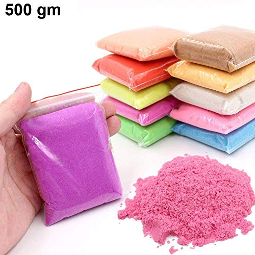 SKYFUN (LABEL) Magic Motion Moving Kids Play Sand Clay Non Toxic Building Sand Bag-Assorted Colour (500 Grams)