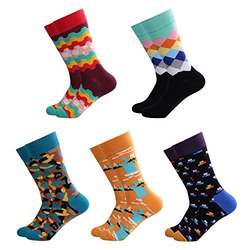 Ambielly Herren Lustig Socken Bunt Baumwolle Neuheit Crew Socken Männer Gemustert Funky Mode Beiläufig Kleid Socken (LB00007A) (Länge Kleid Socken)