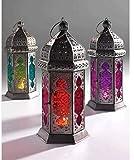 Marokkanischen Stil Glass Lamp Lantern, farbigem Glas und Eisen, fair gehandelt, Orange und Rot