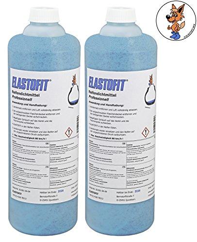 Elastofit Professionell Reifendichtmittel 2 x 1000 ml Flasche Ventilausdreher Handschuhe