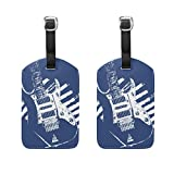COOSUN Music Guitar Luggage Tags Travel Labels Tag Name Card Holder for Baggage Suitcase Bag Backpacks, 2 PCS