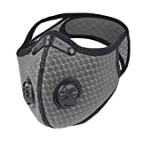 LuTuo Anti Pollution Sports Mask, Half Face Mask, Activated Carbon Air Filters, Air-soft Mask, Breathable, Adjustable Strap and Nose Clip, Maximum Pollution Filtration for Outdoor Sports (Grey-2)