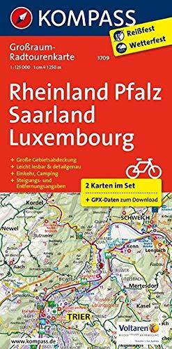 Rheinland-Pfalz - Saarland - Luxembourg: Großraum-Radtourenkarte 1:125000, GPX-Daten zum Download: 2-delige fietskaart 1:125 000 (KOMPASS-Großraum-Radtourenkarte, Band 3709)