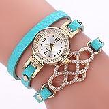 Armbanduhr Damen Ronamick Uhren Frauen populäre Quarz Uhr Luxuxarmband Blumen Edelstein Armbanduhr Armband Uhr Uhren (Himmel blau)
