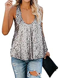 fd4401d096266 TOPSPEED Women s Disco Sequin Sleeveless Loose Tank Tops Blouse Vest Silver
