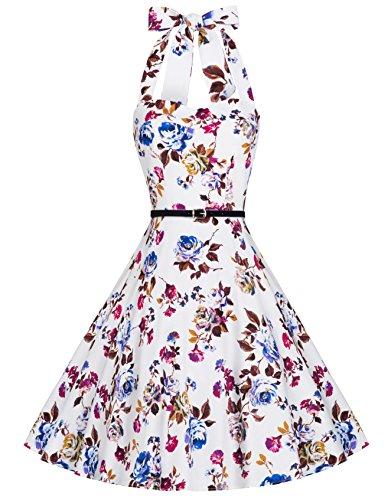 Zarlena Damen Rockabilly Kleid Petticoat Cocktailkleid Neckholder Blumen Floralmuster weiß/weinrotes Floralmuster L DROD-RED-L (Kleid Neckholder Baumwolle Floral)