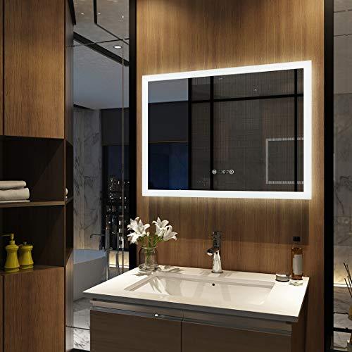 EMKE Wandspiegel Badezimmerspiegel LED Badspiegel mit Beleuchtung 80x60cm, Spiegel mit Uhr, Touch-Schalter und Beschlagfrei Lichtspiegel Kaltweiß 6400K