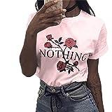 Ularma Damen T-Shirt weiß Baumwolle mit Schöne Blume Aufdruck (36, Pink)