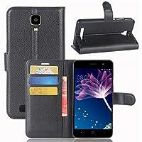 ECENCE Doogee X10 Schutz-Hülle Handy-Tasche Case Cover Book-Case Wallet Brieftasche Book-Style mit Standfunktion Standfuss Schwarz 22010505