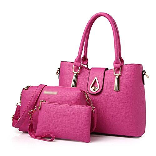 Donna Nuovo Stile Moda Pratica Grande Capacità Temperamento Tre Lenzuolo Borsa A Tracolla Singola Pink