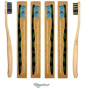 Ökologische Zahnbürste aus Bambusholz, Naturborsten mit aktivierten Bambus-Kohlefasern, vegan und biologisch abbaubar, 100% umweltfreundlich abbaubare Zahnbürste von Keppvim und EBook (DE)