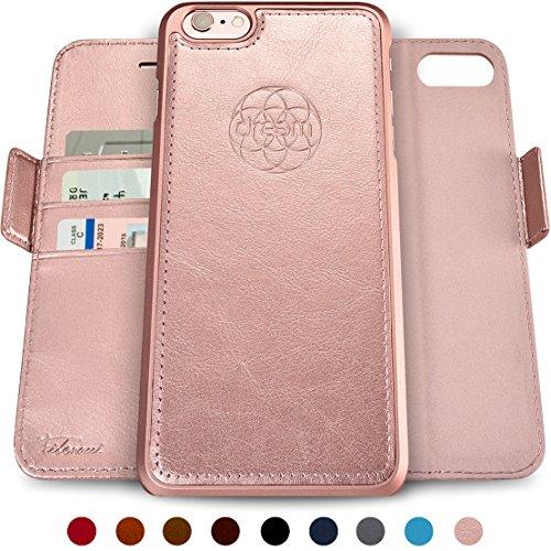 ftasche & Schutz-Hülle für iPhone 6-Plus, magnetisch herausnehmbares TPU Case, dünn bruchfest, 2 Standfunktionen, hochwertige synthetische Leder-Tasche, RFID Schutz - Rosé-Gold ()