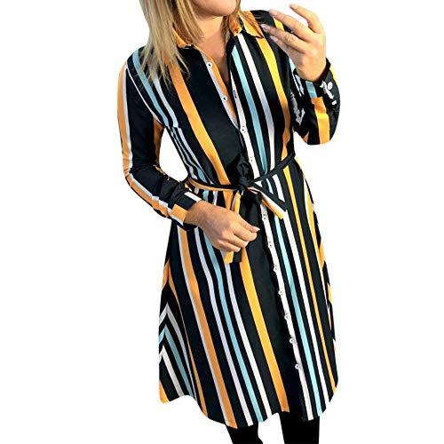 IMJONO Dress Kleid röcke,2019 Jubiläum Frauen beiläufige drehen unten Kragen gestreiftes langes Hülsen-Hemd-Minikleid(Medium,Gelb)