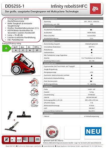 Dirt Devil DD5255-1 Infinity rebel55HFC Multicyclone Staubsauger EEK A (800 W Hocheffizienzmotor, 2,5 L, HEPA Media Ausblasfilter, 3-in-1 Kombidüse am Schlauch, ohne Beutel) metalrot -