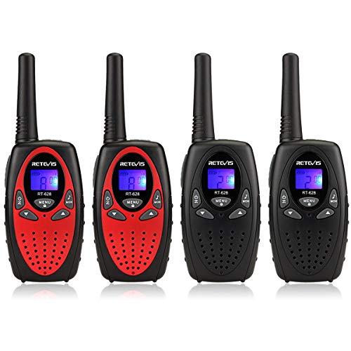 Retevis RT628 Funkgeräte Kinder PMR446 8 Kanäle Walkie Talkie Set mit VOX LCD Display Walki Talki Geschenke Spielzeug für Kinder (4-er Set, Rot und Schwarz)