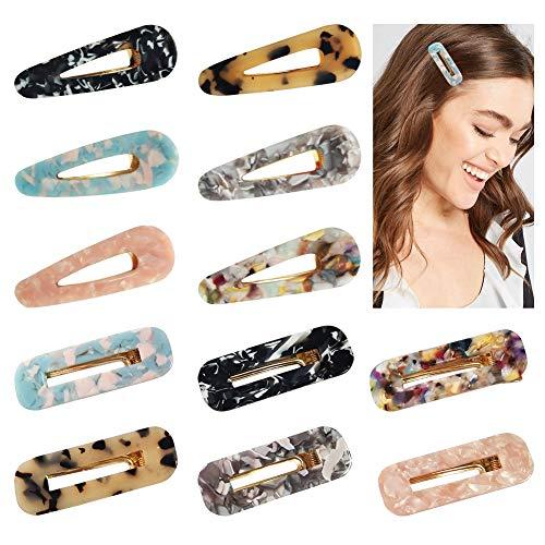 12 Stück Haarspangen für Mädchen und Damen, Acryl Harz Leopardenmuster mehrfarbig Haarkrallen & Spinnen
