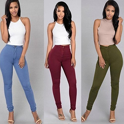 Junshan Femme Casual Pantalons Jeans Stretch Skinny Taille Haute mode Multi couleurs pantalons Jeans occasionnels Poche Crayon Vin rouge