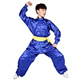 BOZEVON Unisex Niños Ropa De Tai Chi Poliéster Tang Traje de Artes Marciales Kung Fu Uniformes Disfraces, Profundo Azul