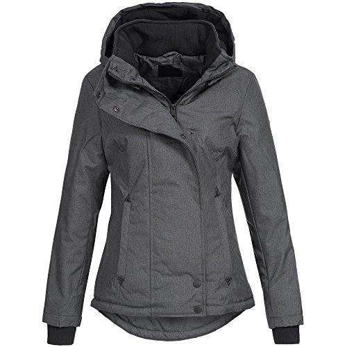 Ausnahme-Zustand Azuonda Damen Jacke Winterjacke Parka Winter warm gefüttert XS-XXL AZ35, Farbe:Dunkelgrau, Größe:L / 40