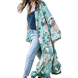 chaquetas de mujer invierno Sannysis bohemia Long Kimono cardigans florales de la borla (verde, M)