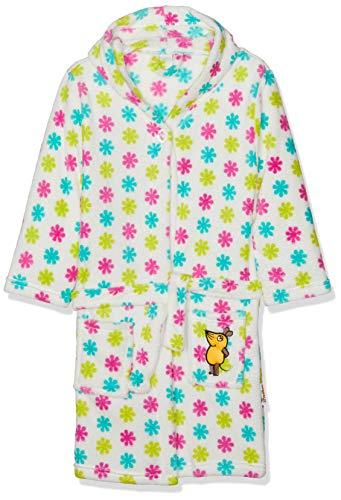 Playshoes Kinder Fleece-Bademantel mit Kapuze, flauschiger Morgenmantel für Mädchen, die Maus-, Blumen-Stickung gepunktet - Fleece-bademantel Kinder-bademantel