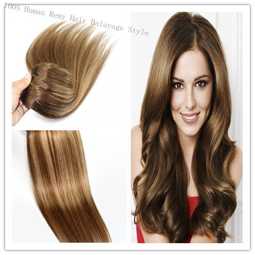Balayage Marron Mix avec strwberry Blonde 35,6 cm 40,6 cm 45,7 cm 50,8 cm 55,9 cm remay cheveux Extensions en cheveux 100% humains