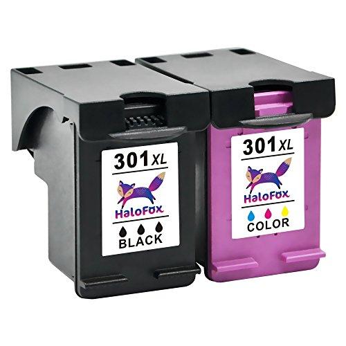 HaloFox 2 Cartuchos de Tinta Remanufacturados 301XL Negro y Tri-color 301 XL Reemplazar para HP DeskJet 1050 1510 2050 2540 2543 2544 3050 OfficeJet 2620 All-in-One Impresora Envy 4500 5530 OfficeJet 4630 e-All-in-One Impresora