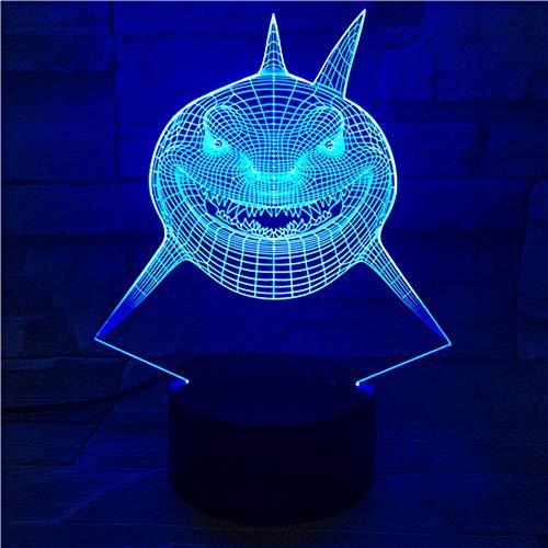 3d nachtlichter 7 farbwechsel led desktop tischlampe cartoon shark halloween geschenk acryl panel stereo illusion