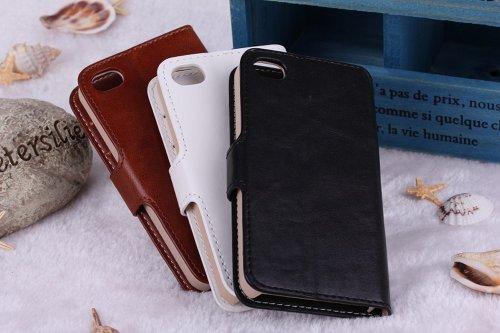 meaci (TM) iPhone 4& 4S Etui folio avec Support de crédit/carte d'identité Support Housse portefeuille en cuir PU matériau magnétique Boucle (Rose)