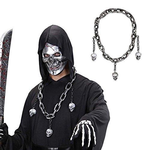 Kostüm Punk Rock Skelett - NET TOYS Totenkopf Kette Skulls Halskette silber Skelettkopf Schmuck Punkrock Collier Halloween Accessoire Gothic Halsschmuck