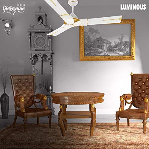 Luminous Jaipur Ghoomar 1200mm Ceiling Fan (Makrana White)