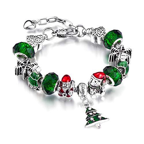 Milnut Frauen Armbänder Nette Weihnachtsschmuck Farbige Perlen Armband Armbänder Schmucksache Damen (Grün)