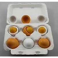 StillCool 6pcs juguete de huevos de Pascua de madera en cartón para Juego de cocina y alimentos Niños educación pre-escolar