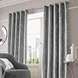 "Rayyan Linen's Silver Grey Crushed Velvet Ring Top Eyelet Pair of Curtains Fully Lined Curtains [Width 46"" X Drop 72""] 